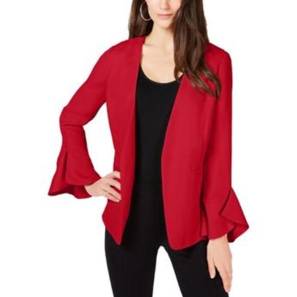 Alfani Bell Sleeves Officewear Open-Front Blazer